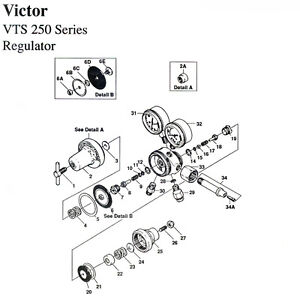 Repair Kit W Diaphragms Victor Vts 250 2 stage Oxygen Regulator Avvts250rkd