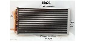 15x21 Water To Air Heat Exchanger 1 Copper Ports W Ez Install Front Flange