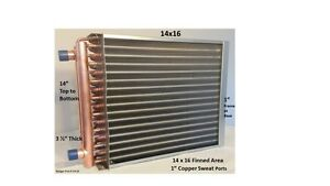 14x16 Water To Air Heat Exchanger 1 Copper Ports W Ez Install Front Flange