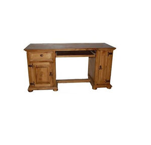 Honey Rustic Western Computer Desk Real Solid Wood Rustic Lodge Cabin