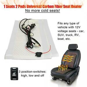 Carbon Fiber Universal Heated Seat Heater Kit Car Cushion Warmer 3 level Switch