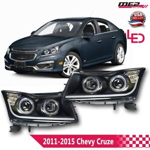 2011 2016 Chevy Cruze Dual Projector Led Signal Drl Black Head Lights Winjet