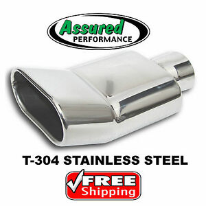 Turn Up Rectangle Stainless Steel Muffler Exhaust Tip Inside Rolled Outlet 2 25