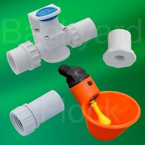 3 Cup Poultry Watering System W Bushings Pressure Regulator Hose Adapter
