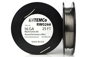 Temco Nichrome 60 Series Wire 16 Gauge 25 Ft Resistance Awg Ga