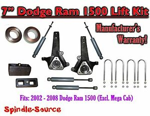 2002 2008 Dodge Ram 1500 2wd 7 Front 3 Rear Spindle Lift Kit With Shocks