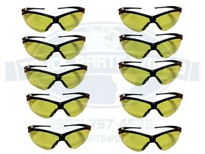 10 Pair Jackson 3000359 Nemesis Safety Glasses Black Amber Lens