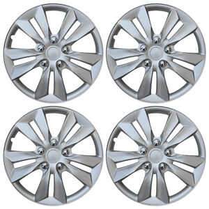 4 Pc Set Hub Cap Abs Silver 16 Inch Rim Wheel Cover Replica Hubcaps Covers Caps