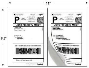 Quality Self Adhesive Shipping Labels 2 Lables Per Sheet For Usps Paypal 8 5x5 5