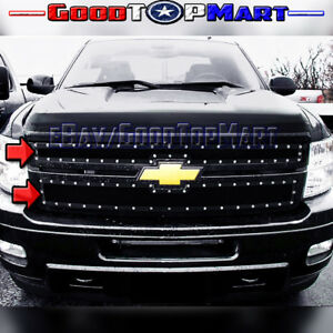 For Silverado 2500 3500 2011 2012 2013 2014 Black Mesh Steel Overlay 2pc Grille