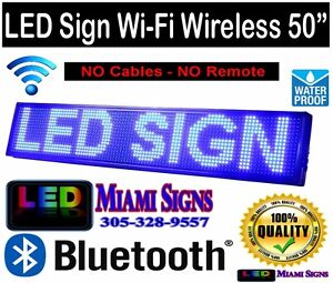 Led Sign 50 Wi fi Wireless Connection Programmable Led Display Blue P10 Outdoor