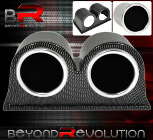 52mm Double Carbon Pod Holder Air Fuel Turbo Boost Gauge Ratio Meter Glow Dial