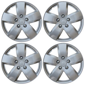 Hub Cap Abs Silver 16 Inch Rim Wheel Skin Cover Center 4 Pc Set Caps Covers