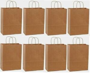 250 13x7x17 Kraft Brown Paper Handle Shopping Gift Merchandise Carry Retail Bags