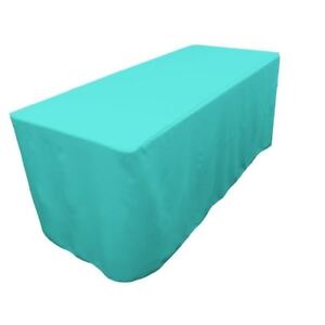 4 Ft Fitted Polyester Table Cover Trade Show Event Tablecloth Tiffany Blue