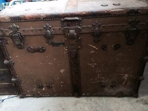 Large Antique Travel Trunk