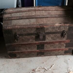Rare Antique Curved Top Travel Chest