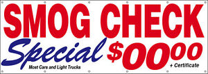 Smog Check Special Vinyl Banner Sign Custom 3x10 Ft add Your Price
