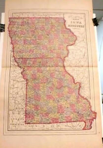 1894 Map Of The State Of Iowa Missouri With Railroad Lines Large Size