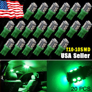 20 X Car Vivid Green T10 10 Smd Led Side Wedge Light Lamp Bulbs W5w 168 2825 194