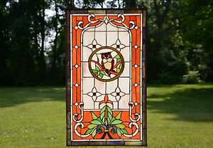 20 X 34 Large Handcrafted Stained Glass Window Panel Owl On The Tree