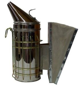 Bee Hive Smoker Stainless Steel W Heat Shield Beekeeping Equipment New Free Ship