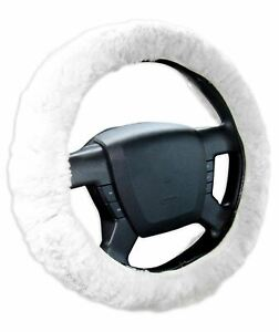 Zone Tech Plush Genuine Sheepskin Stretch On Car Steering Wheel Cover White