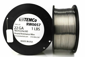 Temco Nichrome 60 Series Wire 22 Gauge 1 Lb 556 Ft resistance Awg Ga
