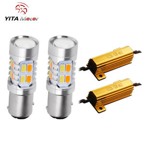 2x 1157 Dual Color Switchback White Amber Led Turn Signal Light Bulbs Resistors