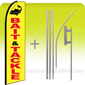 Bait Tackle Swooper Flag Kit Feather Flutter Banner Sign 15 Tall Yb