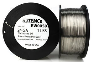 Temco Nichrome 60 Series Wire 24 Gauge 1 Lb 885 Ft resistance Awg Ga