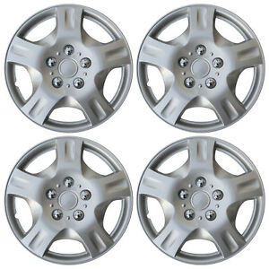 4 Piece Set Silver Lacquer Hub Caps Fits 16 Inch Wheel Cover Skin C