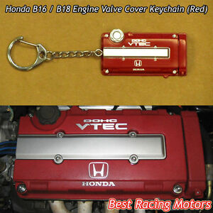 B16 B18 Engine Valve Cover Style Keychain Red Fits Honda