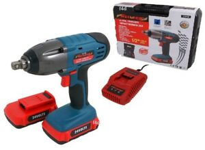24v Lithium Li ion 1 2 Cordless Impact Wrench Ratchet 2 Batteries In Case