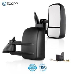 For 88 98 Chevy Gmc 1500 2500 3500 Towing Mirrors Manual Side Mirror Truck Pair