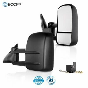 For 88 98 Chevy Gmc 1500 2500 3500 Towing Mirrors Manual Side Mirrors Truck Pair