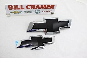 23213446 2015 2017 Chevrolet Traverse Front And Rear Black Bowtie Emblems Oem