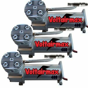 Voltairmax 3 pack 480 200psi Air Compressor Bag Suspension Horn System Pswitch