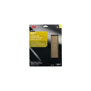 3 M 32118 Dry Sand Paper 40 Grit 9 In X 11 In 5 Sheets Per Pack