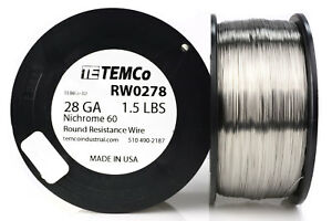 Temco Nichrome 60 Series Wire 28 Gauge 1 5 Lb 3385 Ft resistance Awg Ga