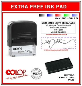 Colop Self Inking Rubber Stamp C40 Signature Custom Colours Extra Free Stamp