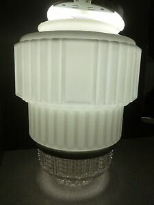 White Clear Glass Art Deco Skyscraper Ceiling Light Lamp Shade 12 T X6 Fitter