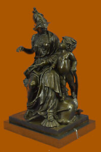 Erotic Lady Soldier Warrior Spear Art Military Collector Bronze Marble Statue