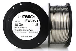 Temco Nichrome 80 Series Wire 18 Gauge 1 Lb 215ft Resistance Awg Ga