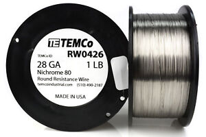 Temco Nichrome 80 Series Wire 28 Gauge 1 Lb 2202ft Resistance Awg Ga