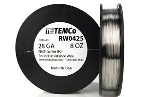 Temco Nichrome 80 Series Wire 28 Gauge 8 Oz 1101ft Resistance Awg Ga