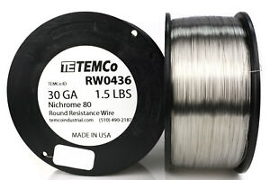 Temco Nichrome 80 Series Wire 30 Gauge 1 5 Lb 5244ft Resistance Awg Ga