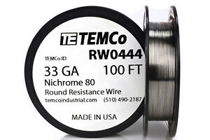 Temco Nichrome 80 Series Wire 33 Gauge 100 Ft Resistance Awg Ga