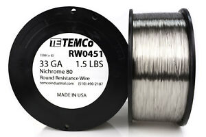 Temco Nichrome 80 Series Wire 33 Gauge 1 5 Lb 10404ft Resistance Awg Ga
