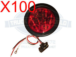 Lot Of 100 Red 10 Led 4 Round Truck Trailer Brake Stop Turn Tail Lights